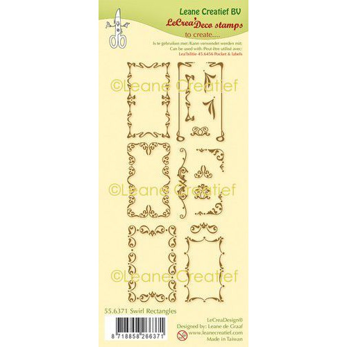 LeCrea - clear stamp combi Swirl Rechthoeken 55.6371 (01-20)