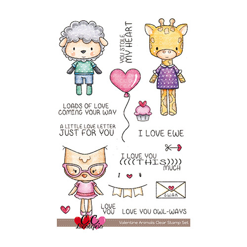 Valentine Animals Clear Stamp