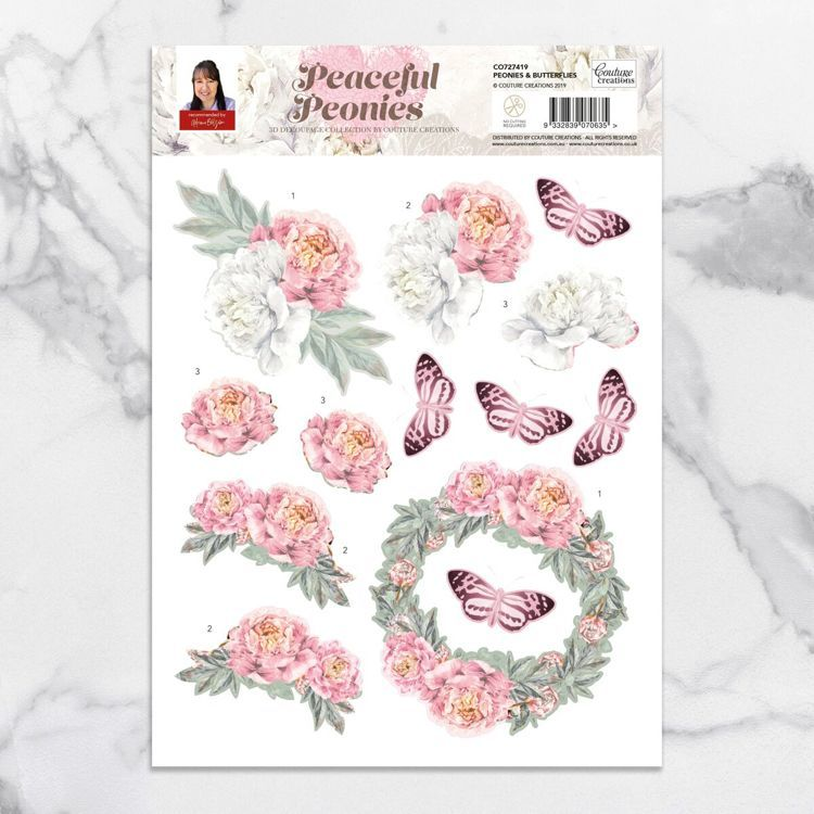 Peonies & Butterflies A4 Decoupage Sheet