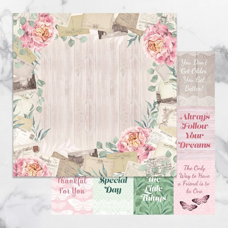 Peaceful Peonies Double Sided Patterned Papers 8 (5pc)