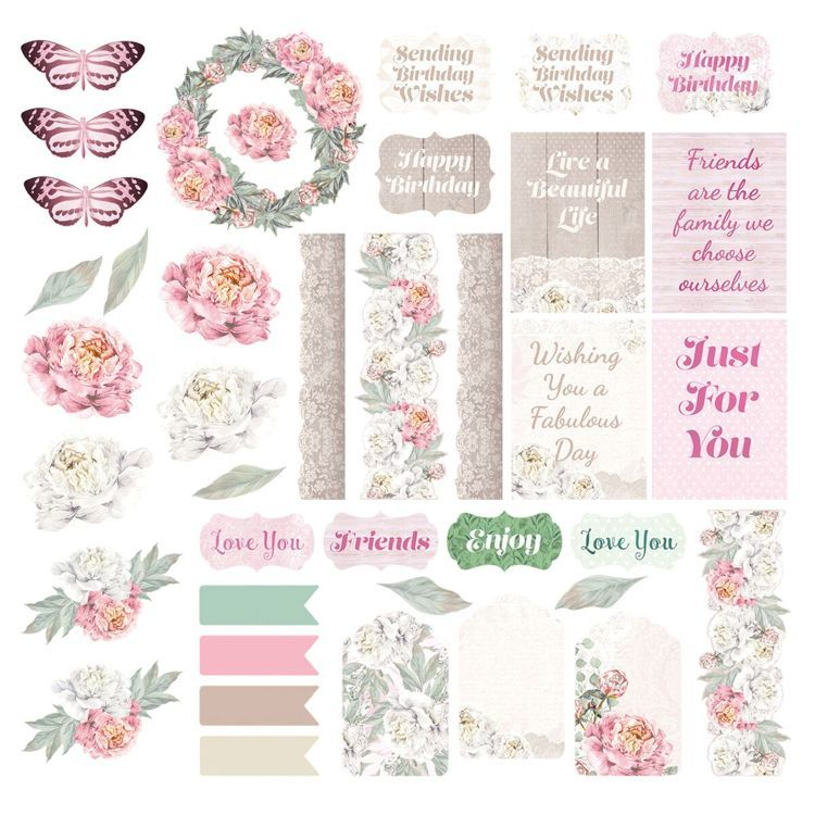 Peaceful Peonies Diecut Ephemera Set (39pc)