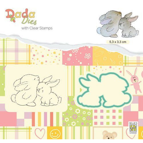Nellie's Choice DADA Die & Clear stamp konijn knuffel DDCS019 53x33mm (01-20)