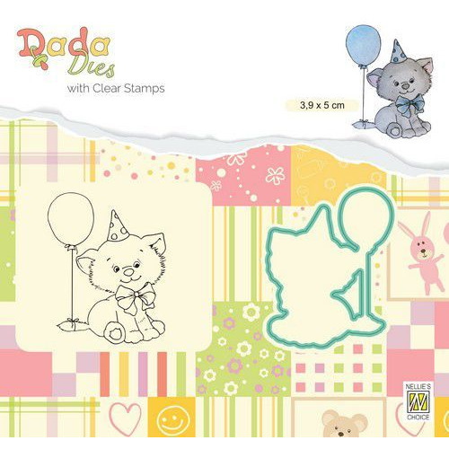 Nellie's Choice DADA Die & Clear stamp poesje verjaardag DDCS020 39x50mm (01-20)