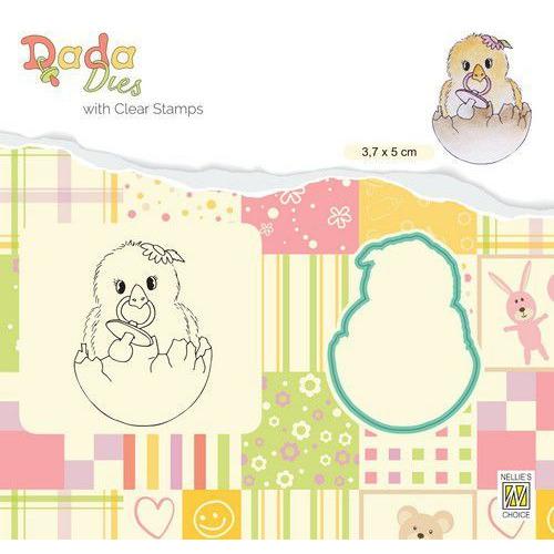 Nellie's Choice DADA Die & Clear stamp kuiken - Hello World DDCS021 38x50mm (01-20)