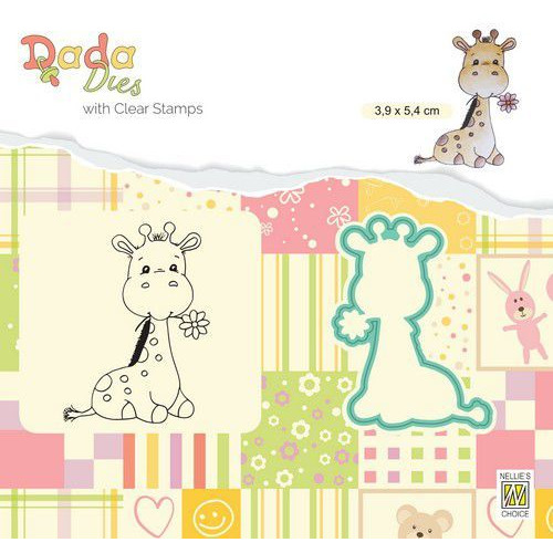 Nellie's Choice DADA Die & Clear stamp Cute Giraf DDCS023 39x54mm (01-20)