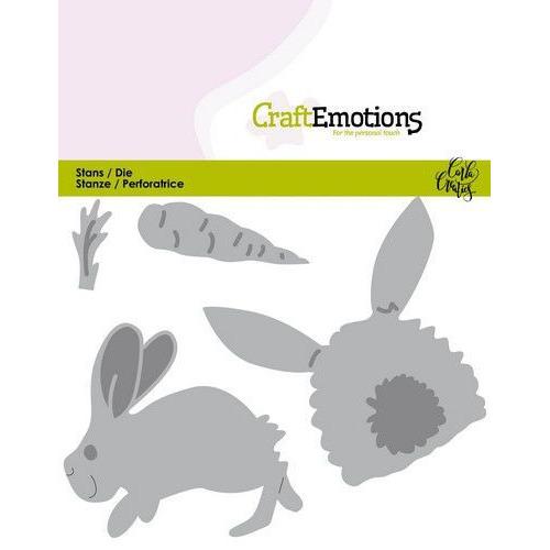 CraftEmotions Die - Bunny 1 -konijn met wortel Card 11x9cm Carla Creaties (01-20)