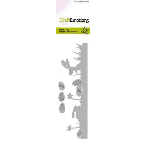 CraftEmotions Die - Bunny 1 - grasrand met eieren Card 5x15cm Carla Creaties (01-20)