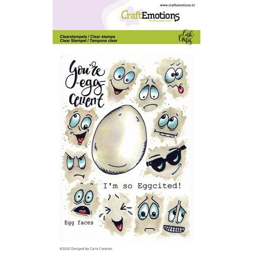 CraftEmotions clearstamps A6 - Egg faces Carla Creaties (01-20)