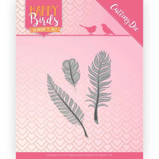 Snijmal- Jeanine's Art - Happy Birds - Drie veertjes