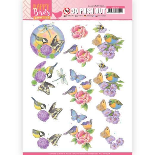 3D uitdrukvel - Jeanine's Art - Happy Birds - Geurende bloemen