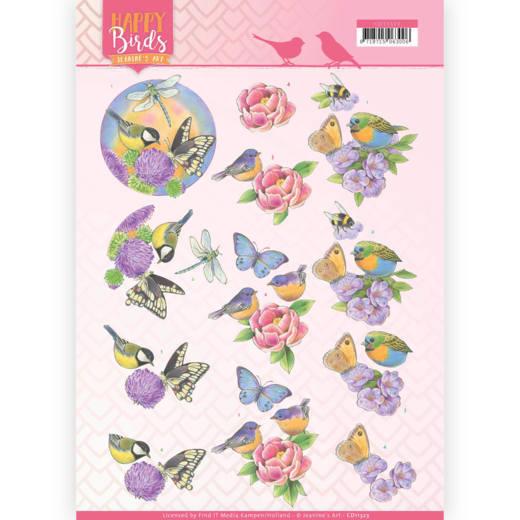 3D Knipvel - Jeanine's Art - Happy Birds - Geurende bloemen