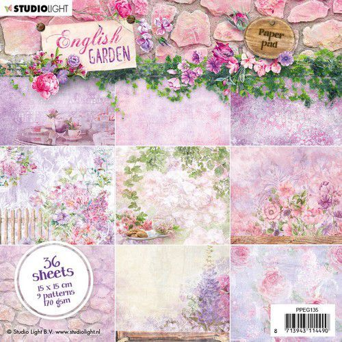 Studio Light Paper pad 36 vel English Garden nr.135 PPEG135 15x15cm (01-20)