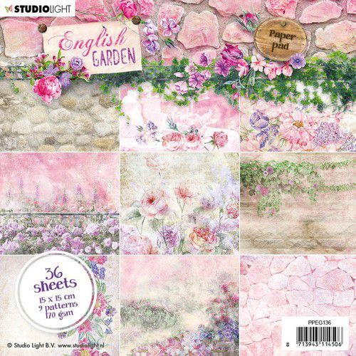Studio Light Paper pad 36 vel English Garden nr.136 PPEG136 15x15cm (01-20)
