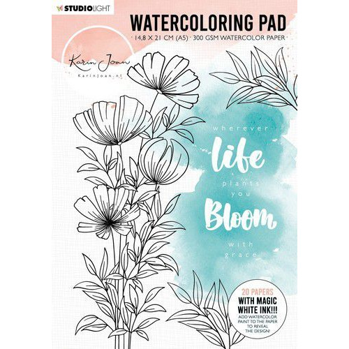 Studio Light Watercoloring Pad A5 Karin Joan Blooming Coll. nr.01 WCPKJ01 (01-20)