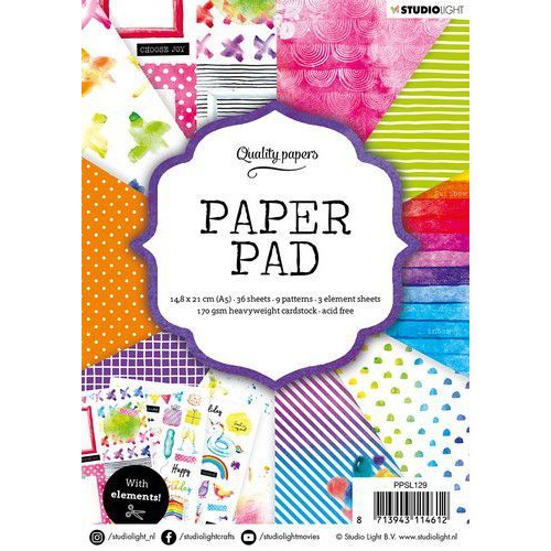 Studio Light Paper pad 36 vel Rainbow nr.129 PPSL129 A5 (01-20)