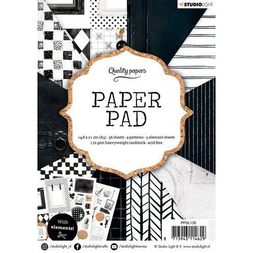 Studio Light Paper pad 36 vel Black/White nr.130 PPSL130 A5 (01-20)