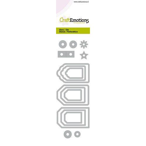 CraftEmotions Die - label variatie 9 stuks Card 5x15cm - 14,5cm (01-20)