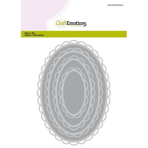 CraftEmotions Big Nesting Die - ovalen scalop XL open Card 150x160 6,8-15,0cm (01-20)