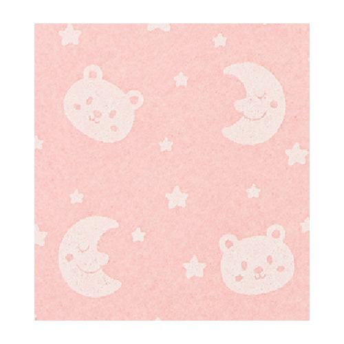 Felt bear/moon, Baby Pink/White