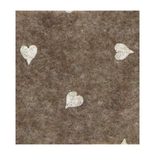 Felt hearts, Brown melange/White