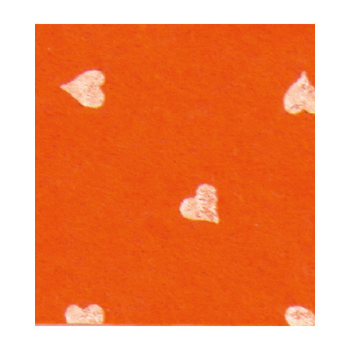 Felt hearts, Orange/White