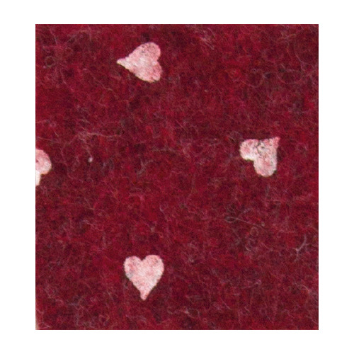 Felt hearts, Red melange/White