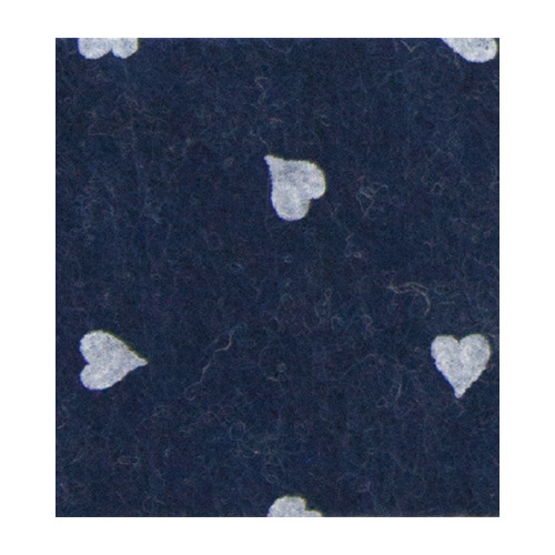Felt hearts, Blue melange/White