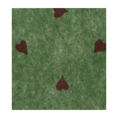 Felt hearts, Olive Green melange/Red