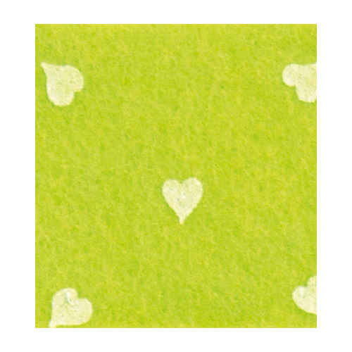 Felt hearts, Pistachio Green/White