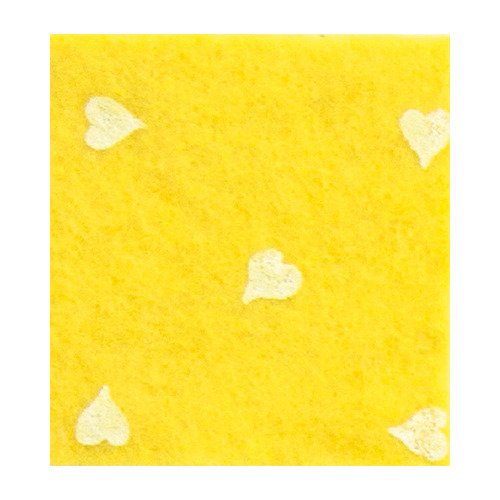 Felt hearts, L. Yellow/White