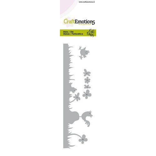 CraftEmotions Die - Chicken - gras, haan met kuikens Card 5x15cm Carla Creaties (01-20)