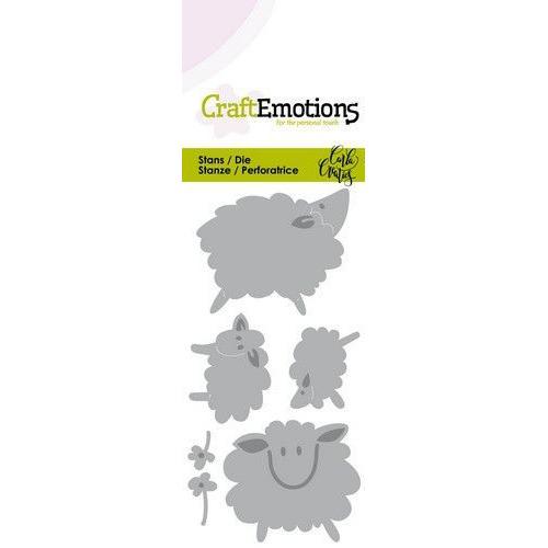 CraftEmotions Die - Sheep - schapen Card 5x10cm Carla Creaties (01-20)