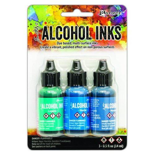 Ranger Alcohol Ink Ink Kits Teal/Blue Spectrum 3x15 ml TAK69669 Tim Holtz (02-20)