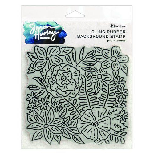 Ranger SH Cling Rubber Background Stamp 6x6 Prom Dress HUR71747 Simon Hurley (02-20)