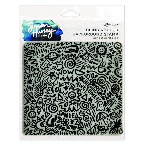 Ranger SH Cling Rubber Background Stamp 6x6 School Scribbles HUR71754 Simon Hurley (02-20)