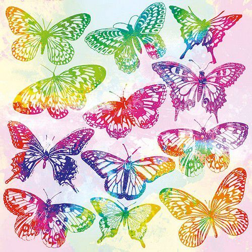 CraftEmotions servetten 5st - Aquarell Butterflies Mix 33x33cm Ambiente 13314015