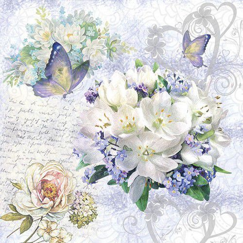 CraftEmotions servetten 5st - Flower Love 33x33cm Ambiente 13314085