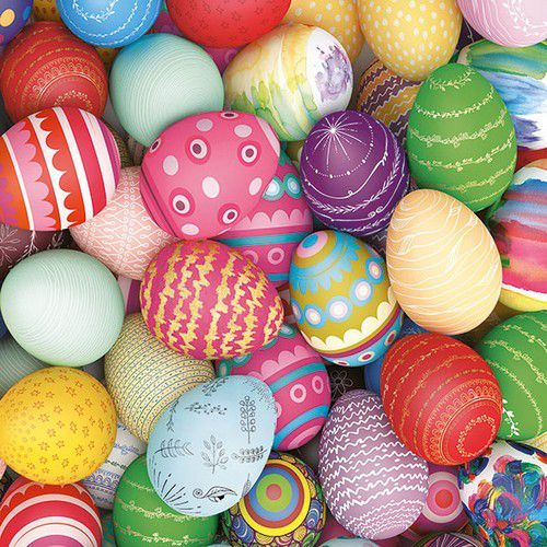 CraftEmotions servetten 5st - Colourful Eggs 33x33cm Ambiente 23314285