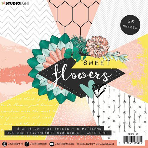 Studio Light paper pad Sweet Flowers nr.137 PPSFL137 15x15 cm (03-20)