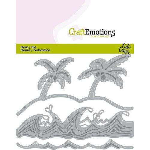 CraftEmotions Die - Ocean - palmen strand golven Card 11x9cm Carla Creaties (03-20)