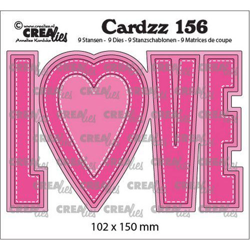 Crealies Cardzz no 156 LOVE (ENG) CLCZ156  102x150mm (02-20)