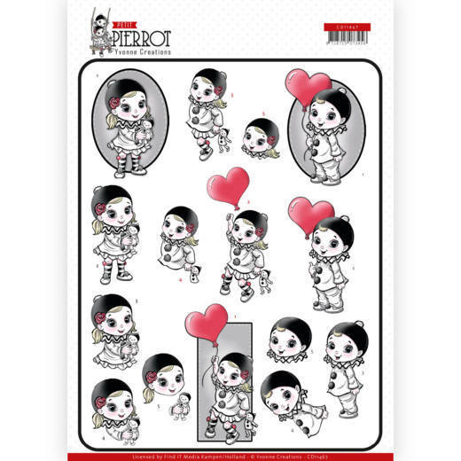3D cutting sheet - Yvonne Creations - Petit Pierrot - With Love