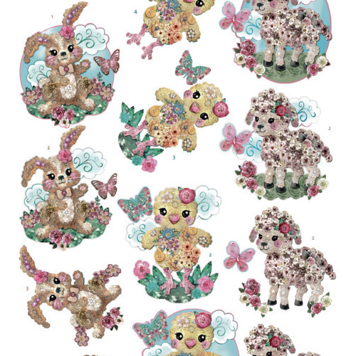 3Dcutting sheet -Yvonne Creations - Kitschy Lala -Kitschy Baby Animals