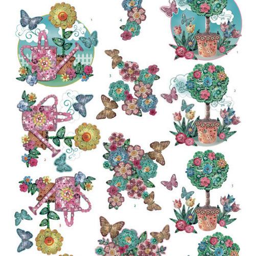 3Dcutting sheet -Yvonne Creations - Kitschy Lala -KitschyFlower Pots