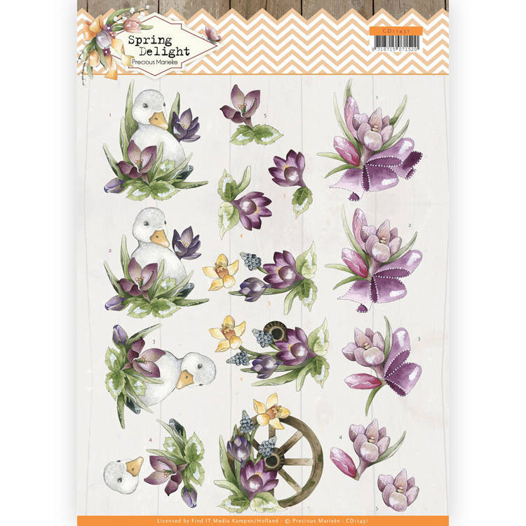 3D cutting sheet - Precious Marieke - Spring Delight - Purple Crocus