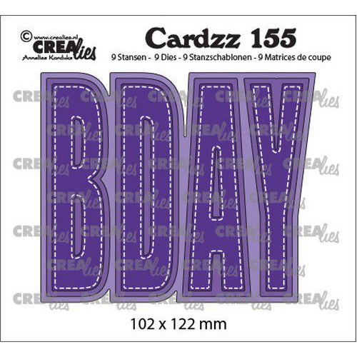 Crealies Cardzz no 155 BDAY (ENG) CLCZ155  102x122mm (02-20)