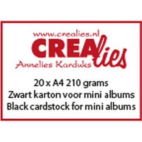 Crealies Basis A4 zwart karton (210 grams) voor o.a. mini albums CLBS109  20x A4 (02-20)