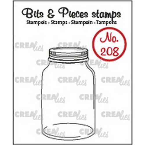 Crealies Clearstamp Bits & Pieces Mason jar / Glazen pot met deksel CLBP208  25x43mm (02-20)