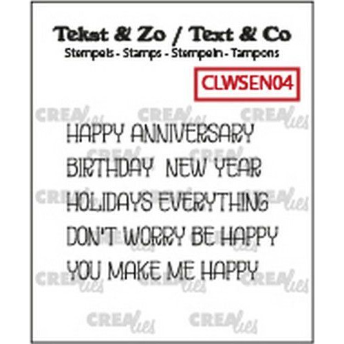 Crealies Clearstamp Tekst & Zo woordstrips HAPPY (Eng) CLWSEN04  5x 4x43mm (02-20)