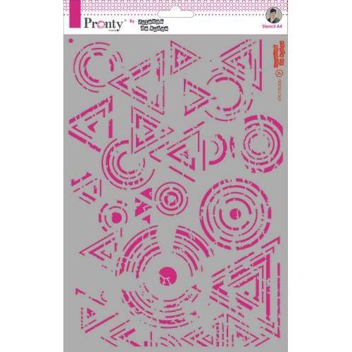 Pronty Mask Background Triangles & Circles Grunge A4 470.770.030 by Jolanda (02-20)